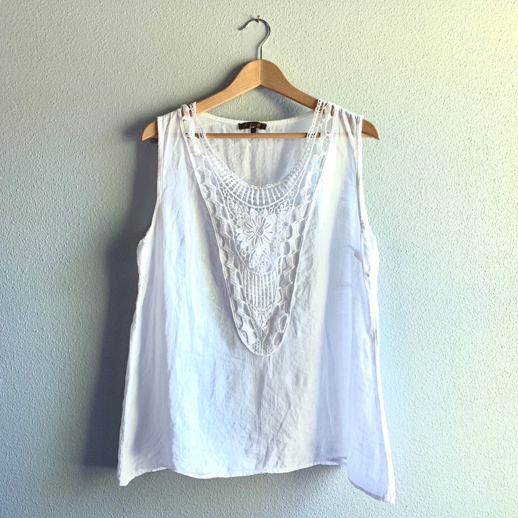 Linen Embroidered Tank Top