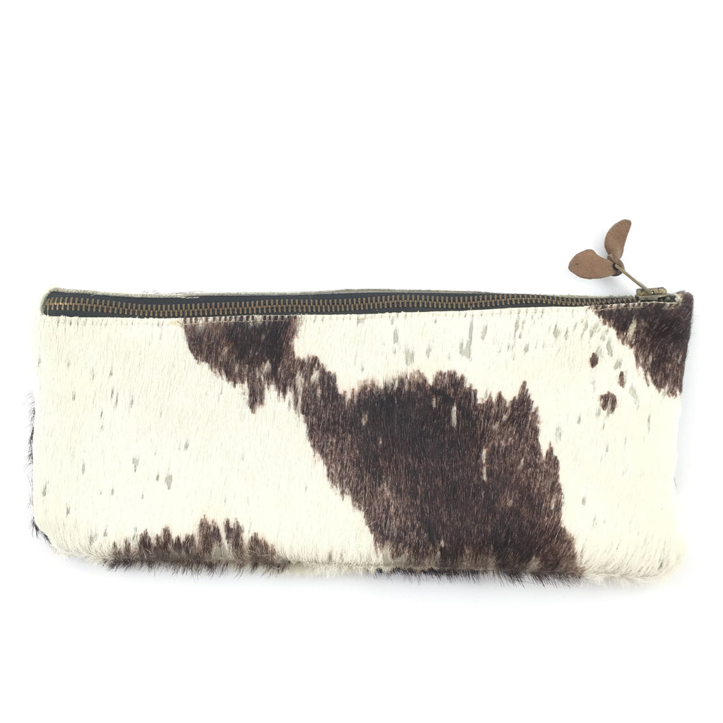 Cowhide Zip Clutch