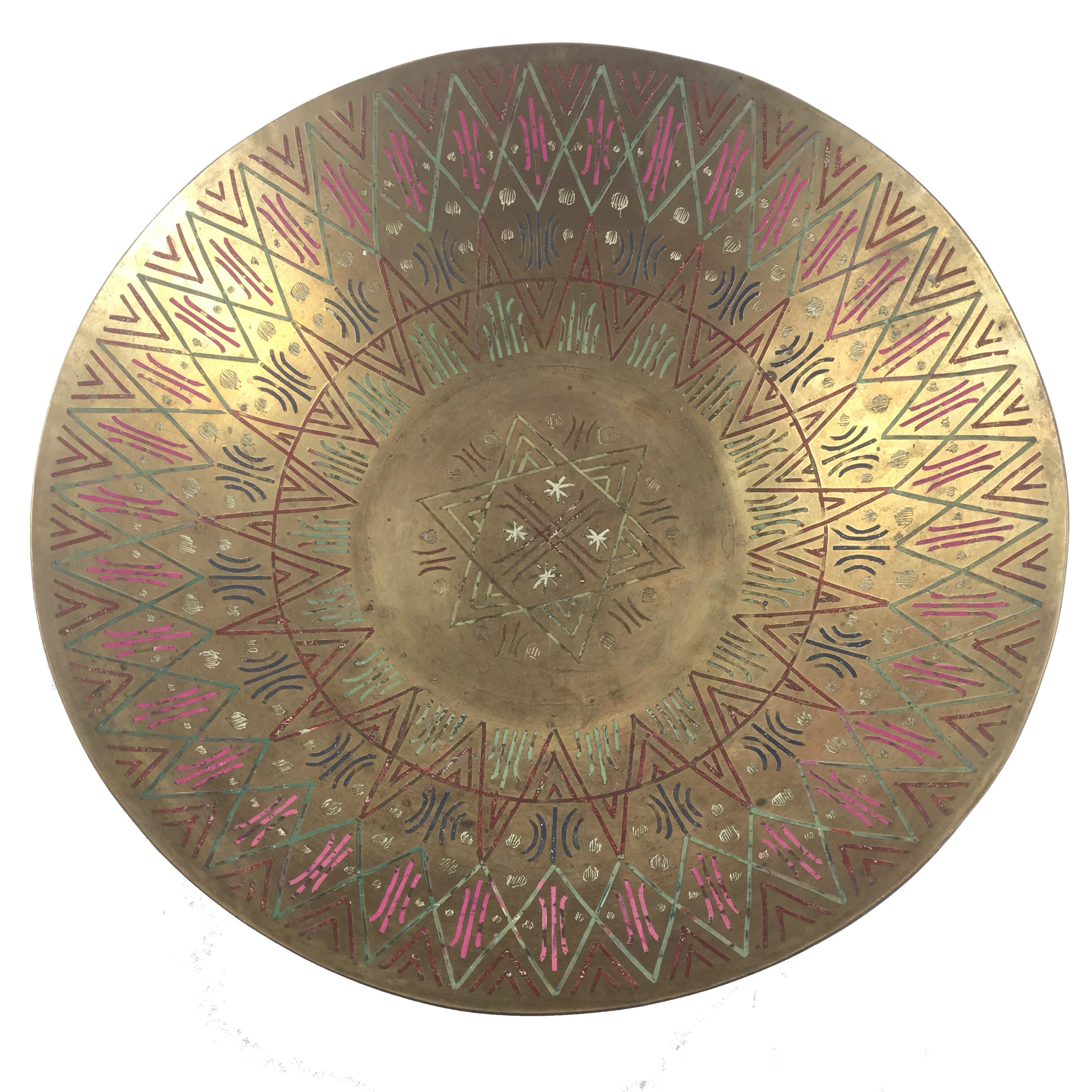 Brass Bowl with Colored Engraving