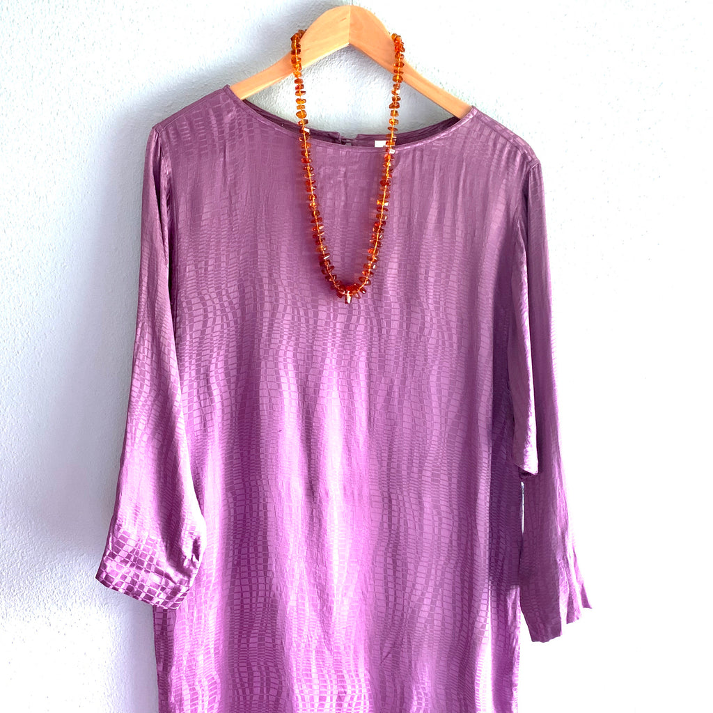 Purple Silk 3/4 Sleeve Dress