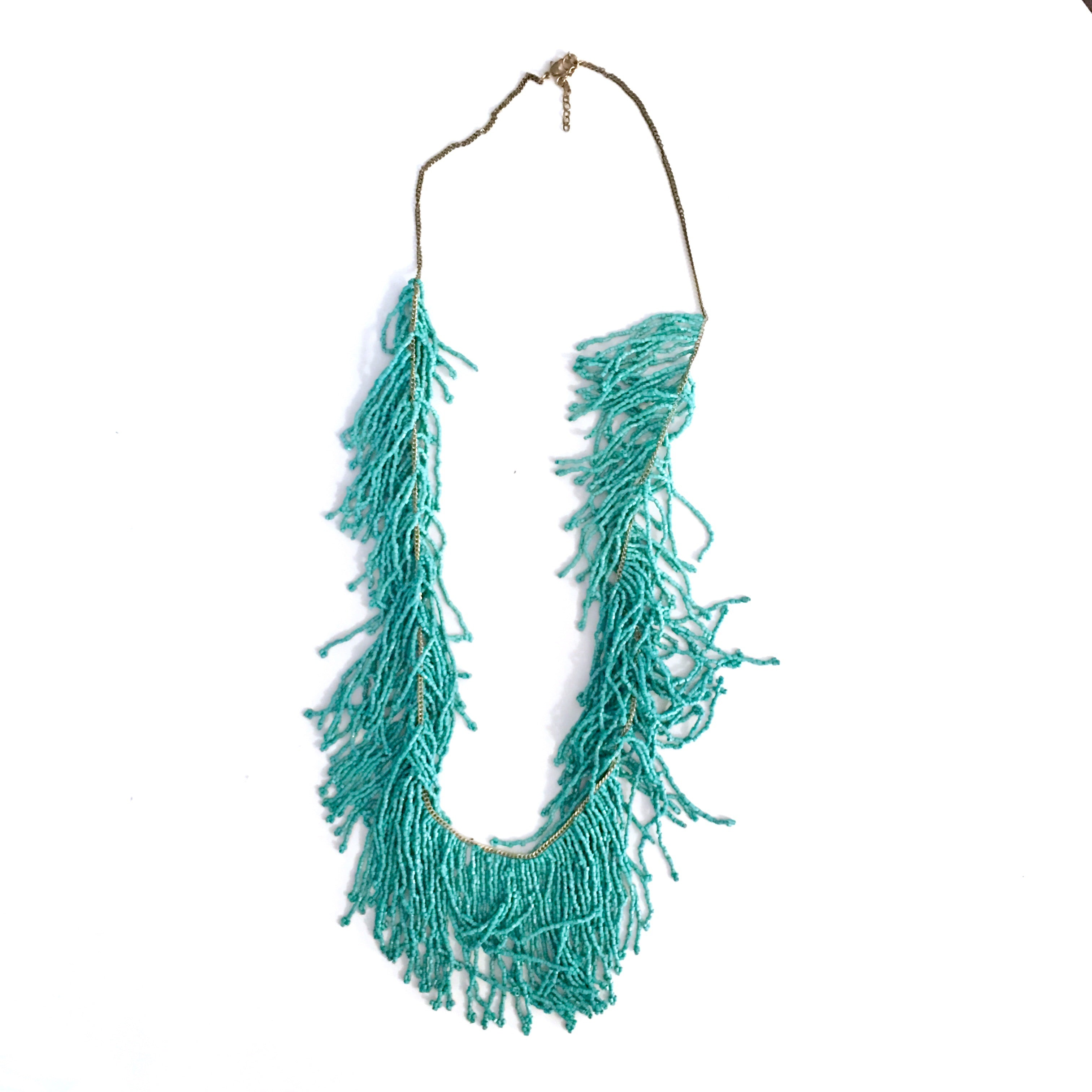 Turq Fringe Necklace