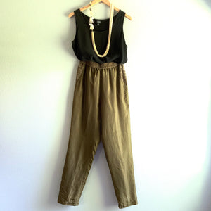 Green Lined Silk Pant