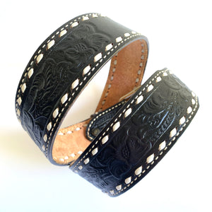 Black Floral Tooled Western Belt S-M