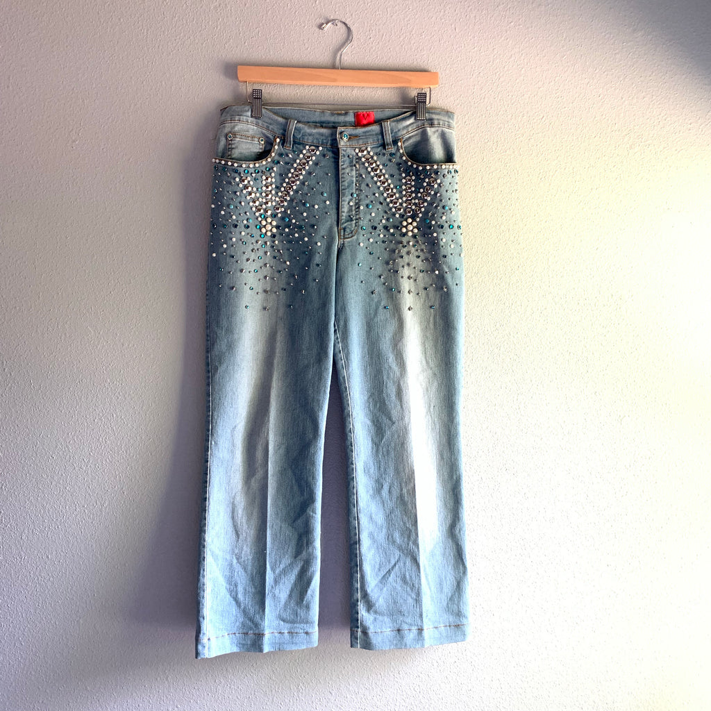 Embellished Wide Leg Jeans