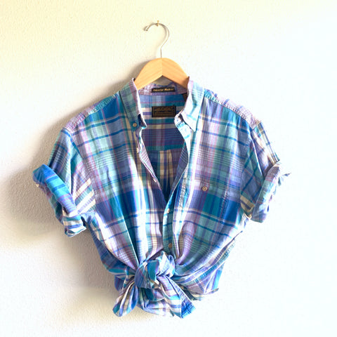 Plaid Shirt - Turq Short Sleeve