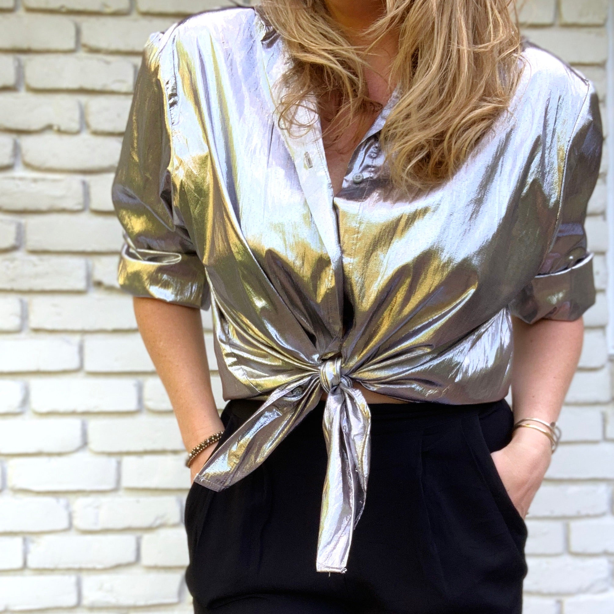 Silver Metallic Button Down