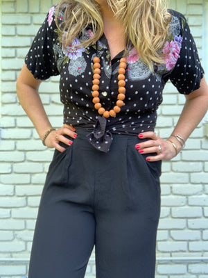 Black Floral Button Down Short Sleeve