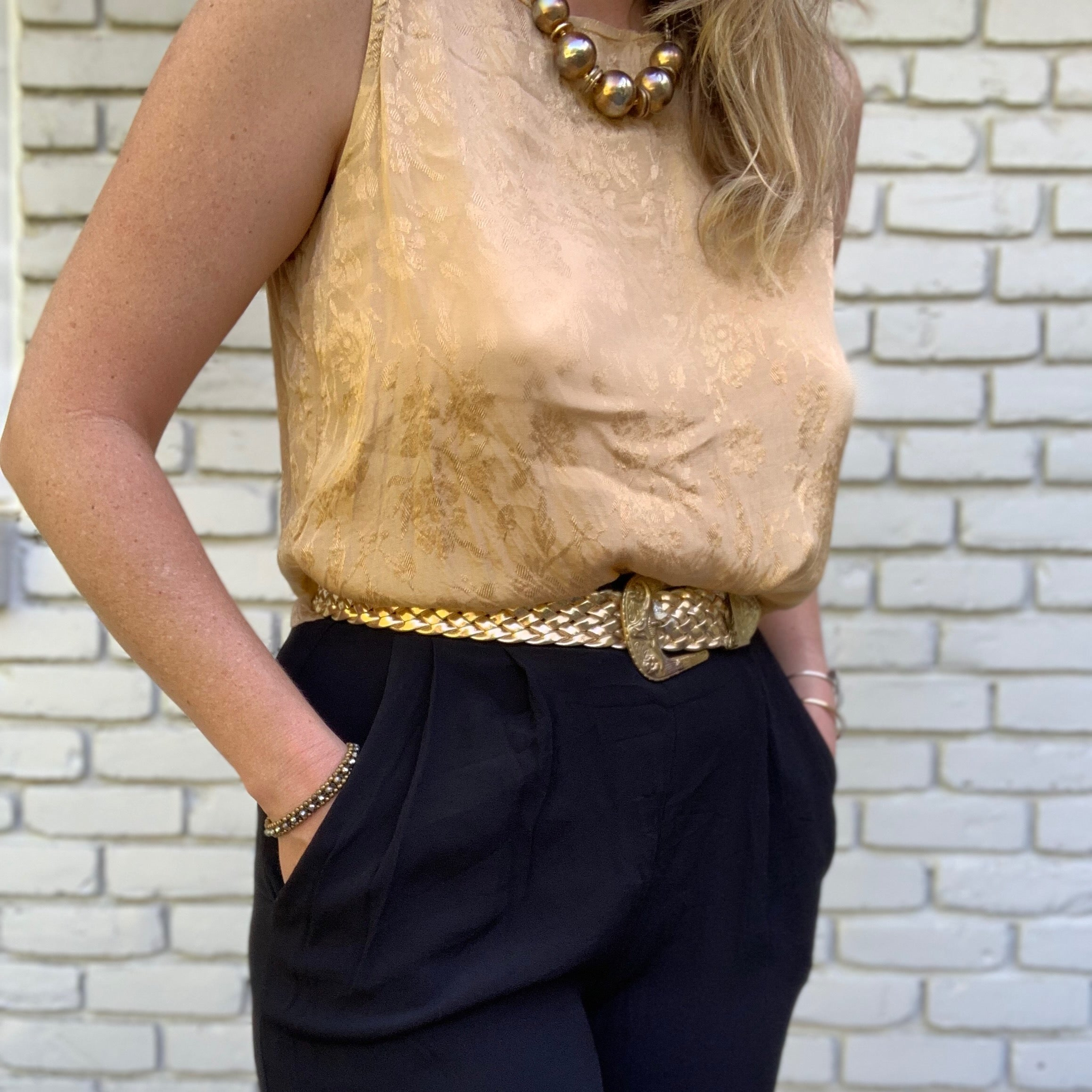 Gold Silky Tank Top