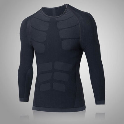 Tee shirt manches longues fitness effet abdos MICKA