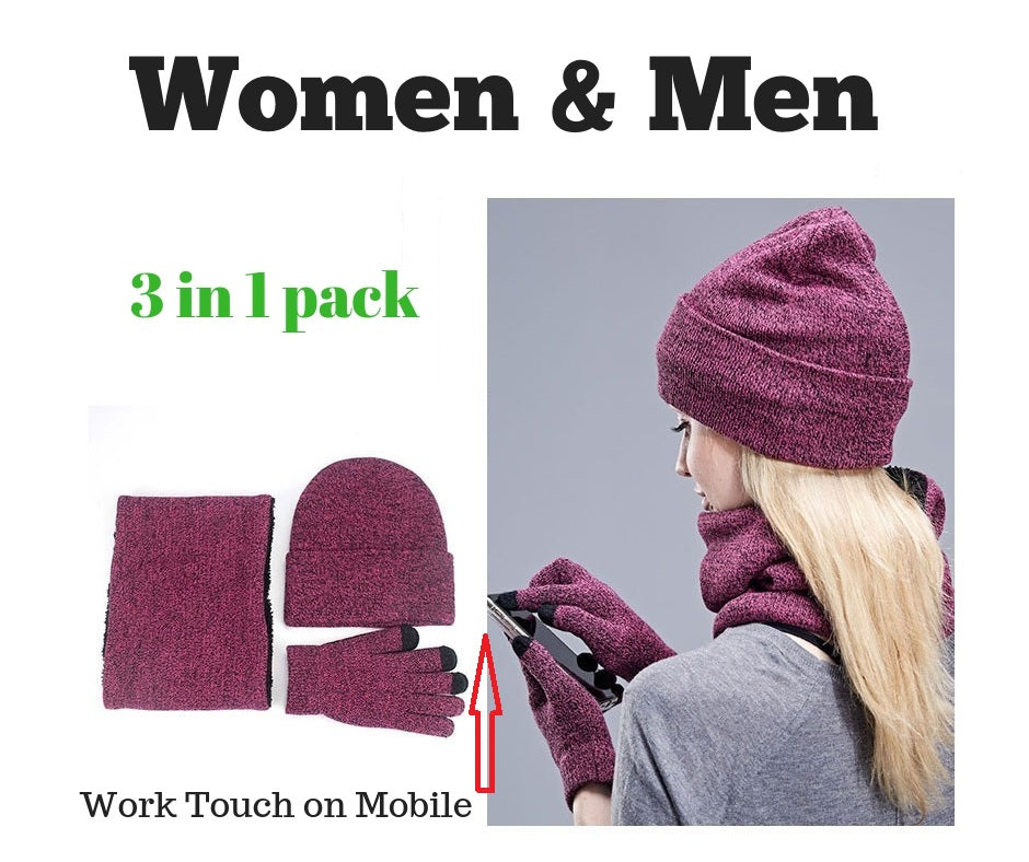 cdcb2847397 Warm 3 Pieces Set Winter Hats Scarf Gloves For Women Men Thick Cotton Winter  Accessories Set Female Male Beanie Scarf Gloves