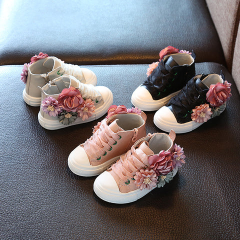 Girls wedding anti slip cute flat flower princess Fashion shoes-Shopper Baby