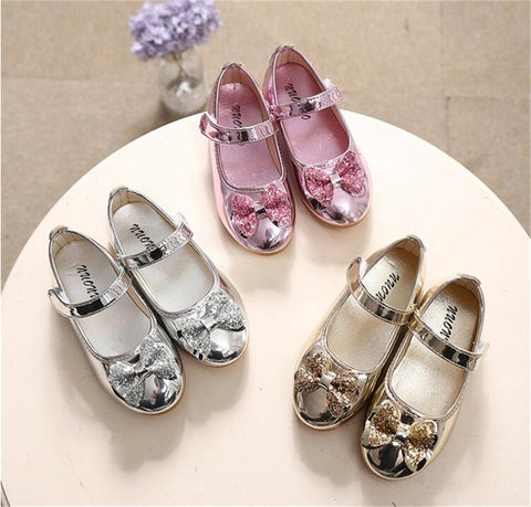 Girls sequins Bow Princess leather shoes-Shopper Baby