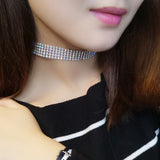 Crystal Rhinestone Choker Necklace Women Wedding Accessories Silver Chain Punk Gothic Chokers Jewelry Collier Femme #95027-Shopper Baby