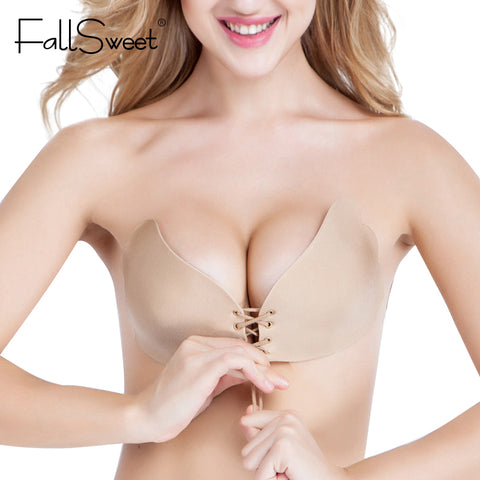 Women Strapless Bra Self Adhensive Backless Invisible Brassiere A B C cup,Sexy Push Up Bra Beige Black-Shopper Baby
