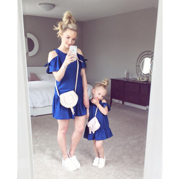 New Mother and Daughter Off shoulder Dress-Shopper Baby