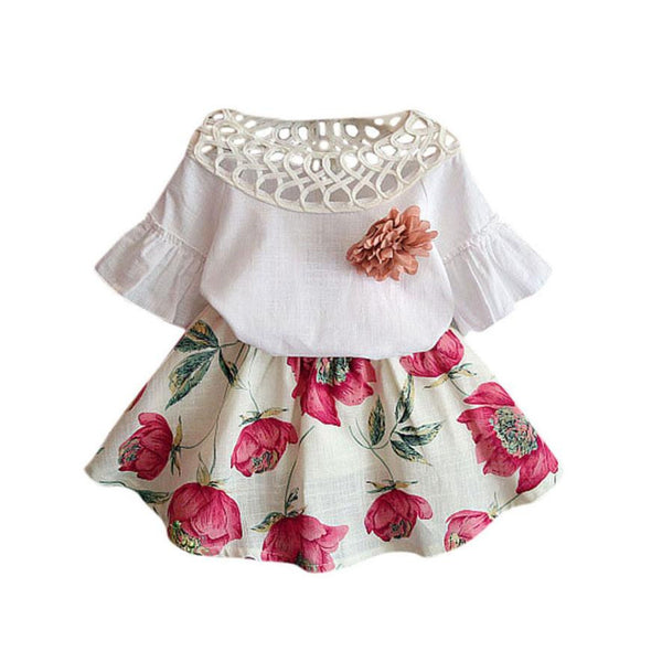 Flowers Skirt Set Summer Dress Outfits-Shopper Baby