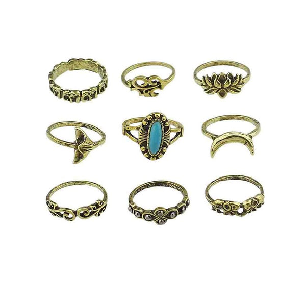 Bohemia Antique Rings 9pcs/set-Shopper Baby