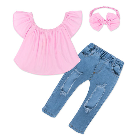 2018 Summer Baby Girls Set Shirt+Jeans-Shopper Baby