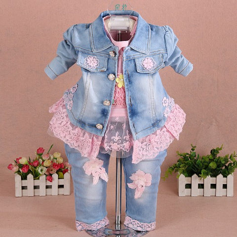 Girls Clothes Set 3pcs for birthday jacket+t shirt+jeans-Shopper Baby