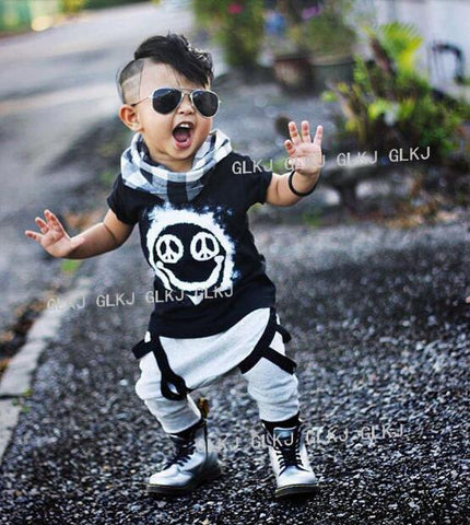 New Summer Boy's t-shirt + pants cotton set-Shopper Baby