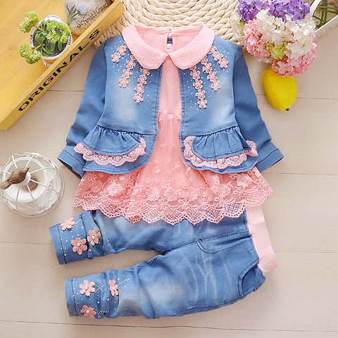 2019 Girls Lace Denim Clothing Sets 3pcs-Shopper Baby