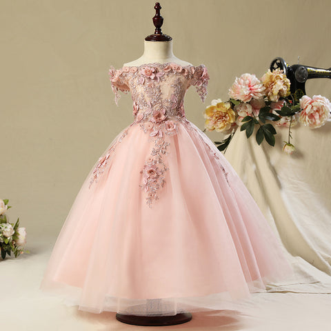 Pink Appliques Dresses Ball Gown Organza Flower Girl Dresses-Shopper Baby