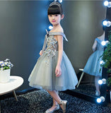 Elegant Party Tulle Girls Shoulderless Wedding Dress-Shopper Baby