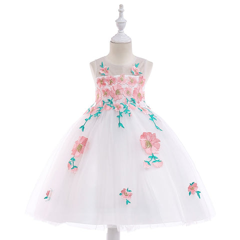 Girl Appliques Flower Birthday Party Dress-Shopper Baby