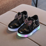 Girls Crystal Bowknot LED Luminous Casual Sport Shoes-Shopper Baby