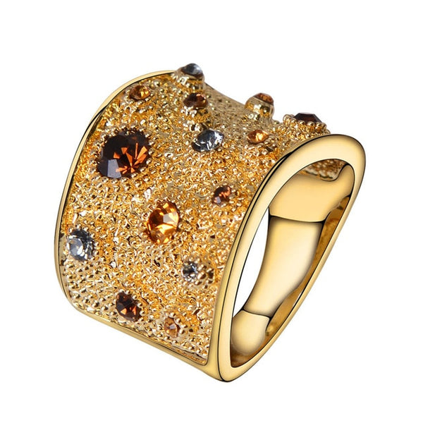 Gold Finger Rings with Multicoloured Crystal Rhinestones-Shopper Baby