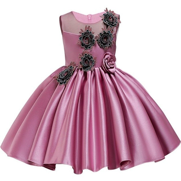 New Style Satin Princess Rose Flower Eye-Catching Girl Elegant Dress-Shopper Baby