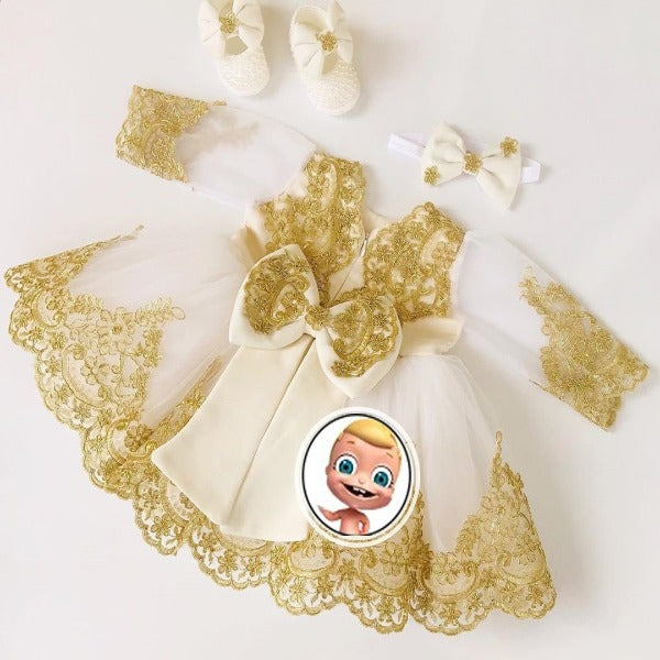 Gold Color Beautiful Princess Flower Baby Girl Dress