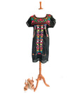 Mexican Dress; Puebla Dress; Boho Embroidered Dress with Lace