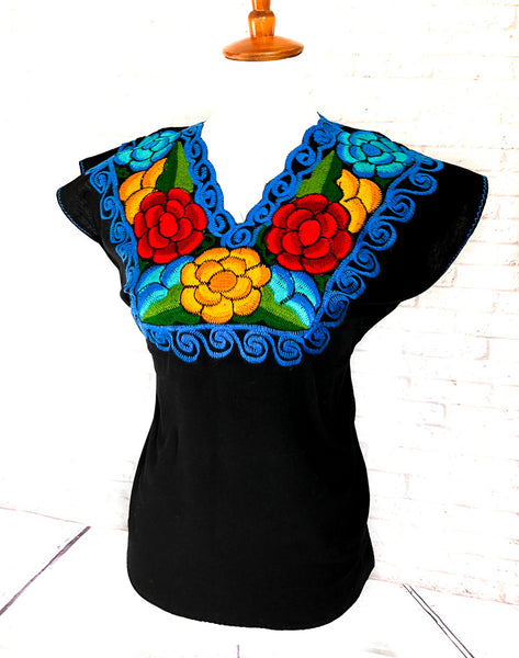 Mexican Embroidered Blouse Zinacantan Black
