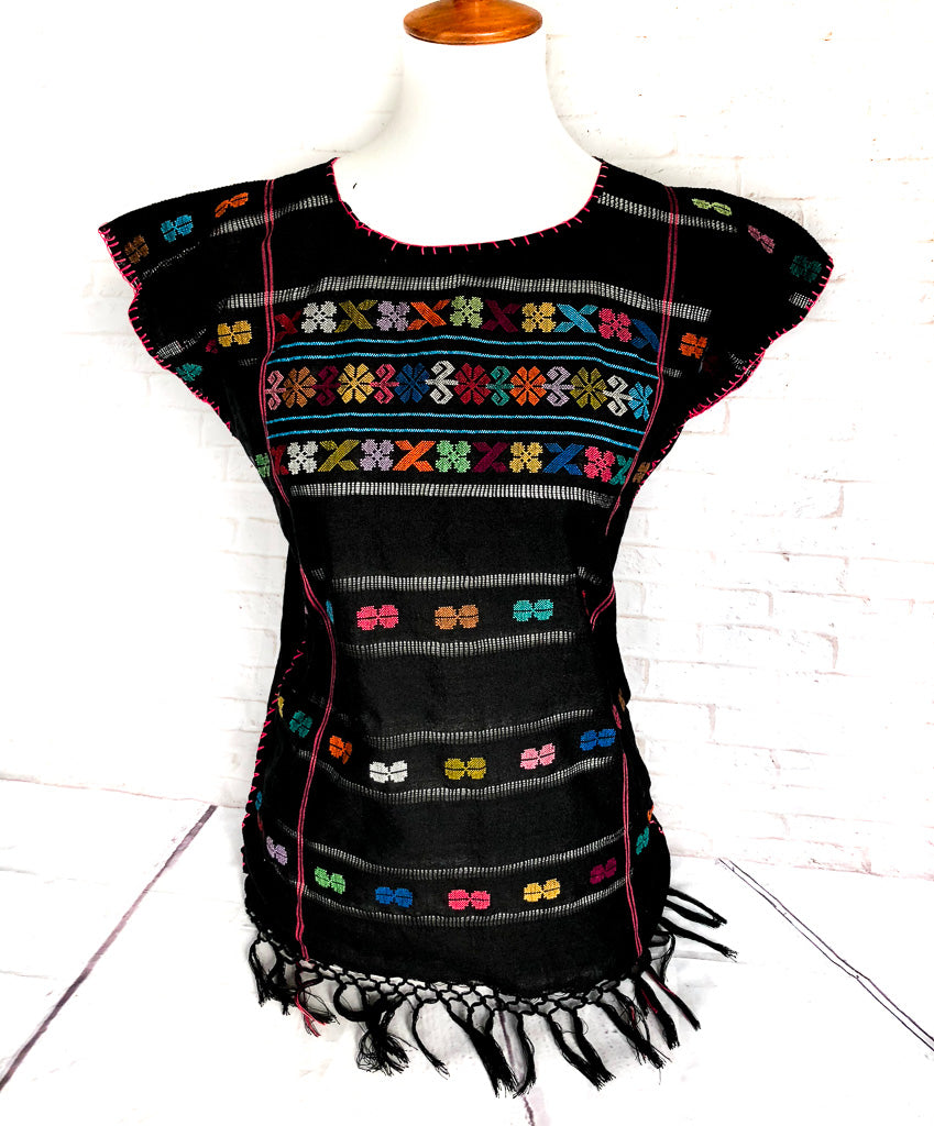 Mexican Peasant Blouse Amuzgo Black
