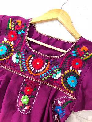 Mexican Dress Plus Sizes, Boho Frida Kahlo Style, Puebla Dress (Multiple Colors)