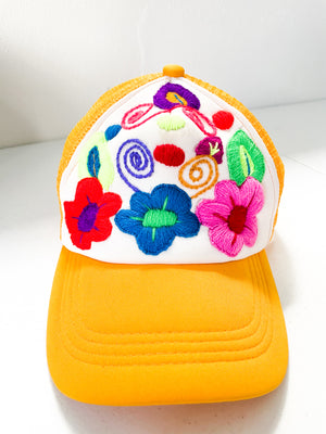 Hand embroidered snap back hat traditional Mexican embroidery Chiapas style