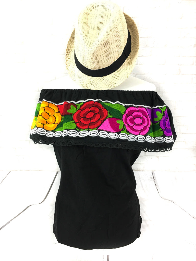 The Shoulder Embroidered Mexican Top-wholesale