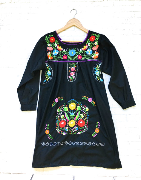 Mexican Dress black, Boho Frida Kahlo Style, Puebla Dress Long Sleeve