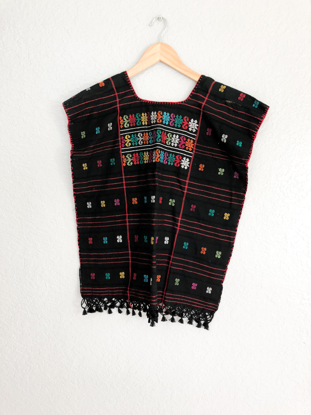 Mexican Peasant Blouse Amuzgo Black-wholesale
