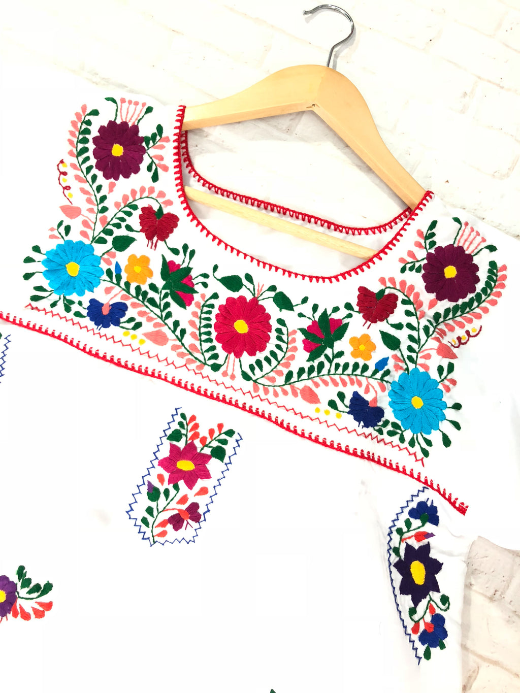Mexican Dress; Boho Embroidered White Dress