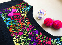 Paloma Embroidered Mexican Blouse in Black