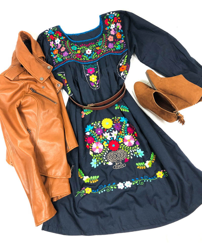 Mexican Dress; Boho Puebla Dress Long Sleeve Blue