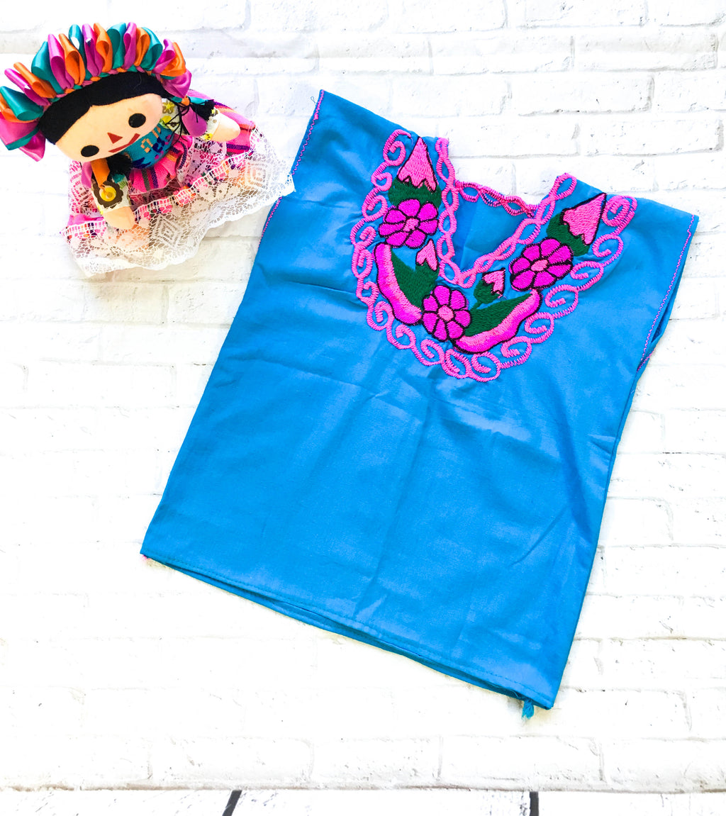 Mexican Top Zinacantan Turquoise (Girl)