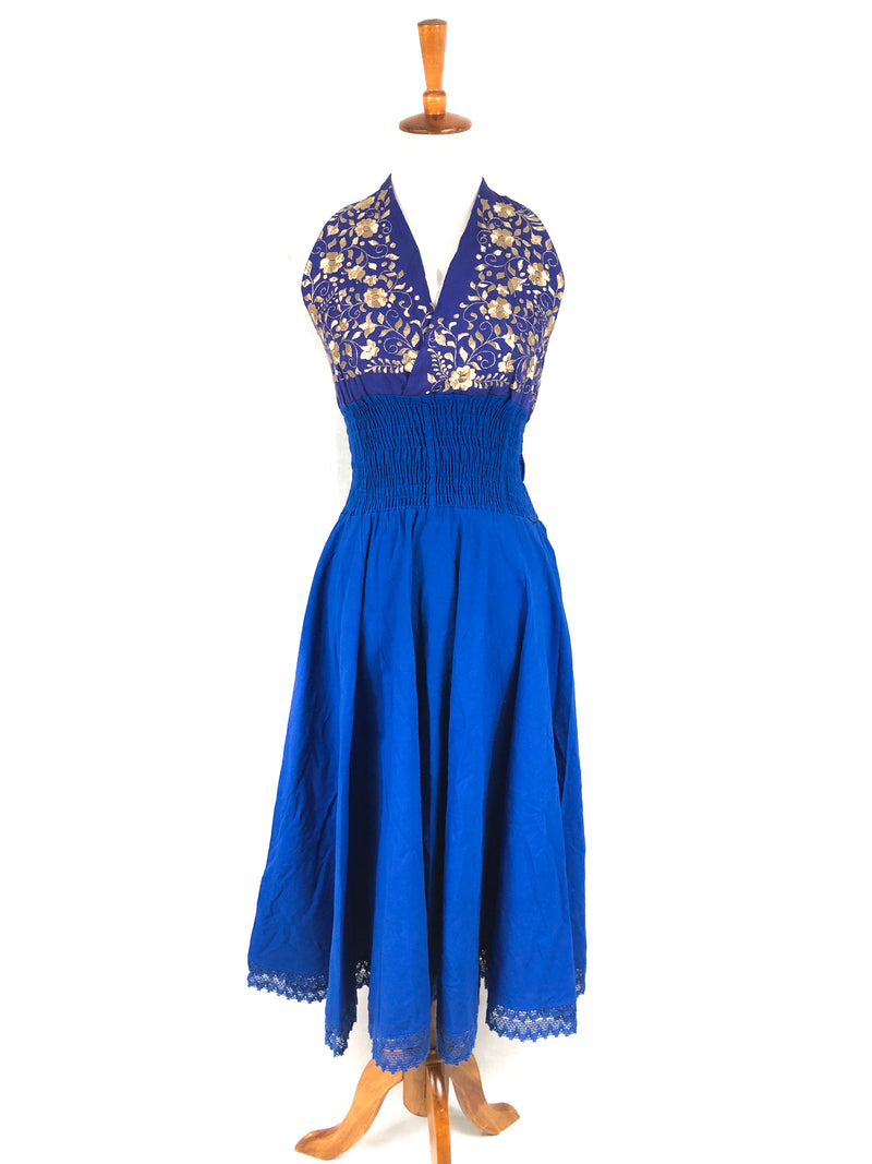 Embroidered Halter Dress