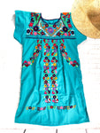 Mexican Dress; Boho Teal Embroidered Dress