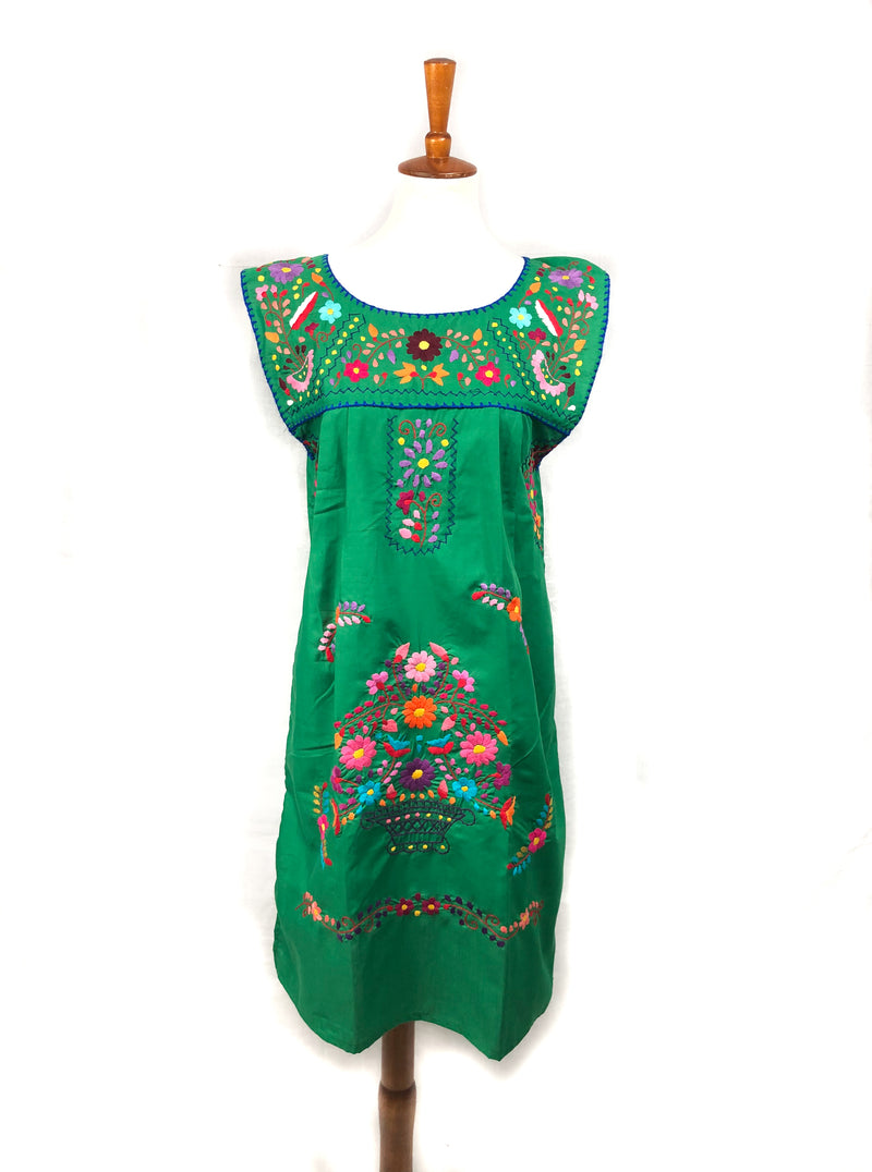 Mexican Dress; Boho Embroidered Dress no sleeves