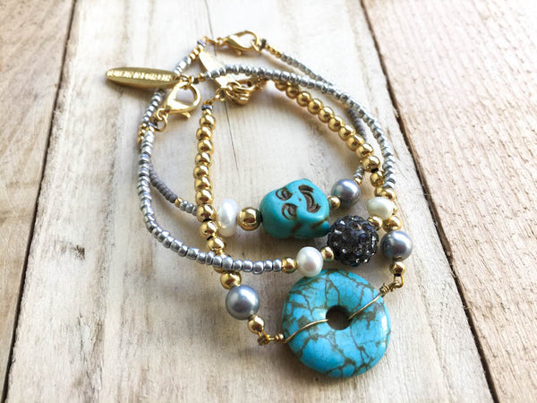 Turquoise and Pearl Mala Bracelet