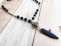 Lava Stone & Onyx Necklace; Natural Stone Necklace; Collar Piedra Natural