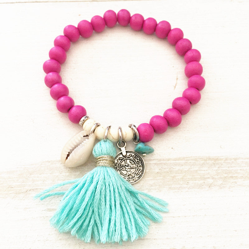 Bohemian Style Colorful Natural Wood Beads Bracelet